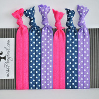 Hair Ties ~ 6 Pack Navy w/White Dots Pink Purple w/White Dots Handmade Trendy Ponytail Holders Knotted Elastic Yoga Bands
