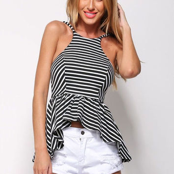 Striped Strappy Cropped Top