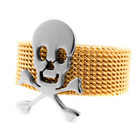 Mesh Skull and Crossbones Ring (Two-Toned)