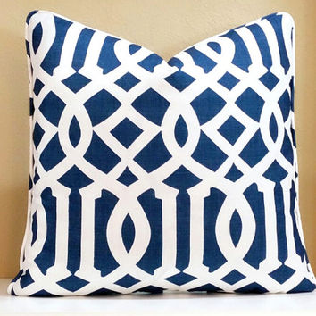 Navy Trellis Schumacher pillow cover with welting, pick your pillow size, also available in knife edge
