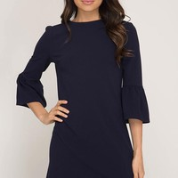 Bell Sleeve Shift Dress - Navy