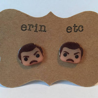 Handmade Plastic Fandom Earrings - Parks and Rec - Ron