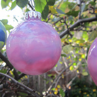 Pearly Pinks hand painted Glass Christmas Ornament, glow in the dark, Christmas decoration with ice blue glow pigment
