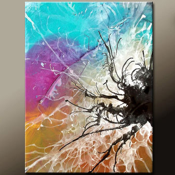 Abstract Painting on Canvas Original 22x28 Contemporary Fine Art  by Destiny Womack - dWo  - Scattered