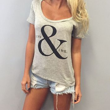 Letters Print Causal T-Shirt