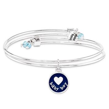 Silver-Tone Trinky Things Blue Boy Oh Baby Bracelet/Card