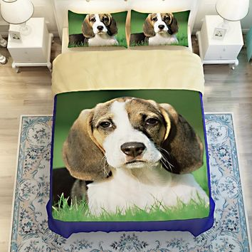 Free shipping Novelty gift Beagle dog pattern bedding set Quilt duvet Cover pillow case for twin full queen king