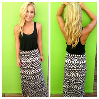 Black T-Back Print Maxi Dress