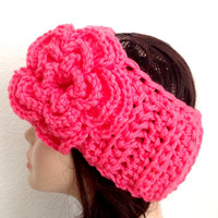 READY TO SHIP. Valentine Crocheted Ear Warmer/Headband. Pink Crochet Ear warmer