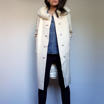 60s Winter White Coat Women Fur Collar Button Up 1960s Aline Dress Coat - Medium Large M L