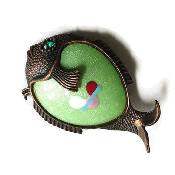 Vintage Green Guilloche Enamel Fish Brooch with Red, Pink and Blue Atomic Enamel Work