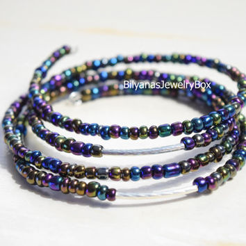 Memory Wire Bangle Bangle Bracelet Four layer Memory Wire Rainbow Bangle Bracelet Wire Bracelet Black Rainbow Bracelet Dark Bracelet