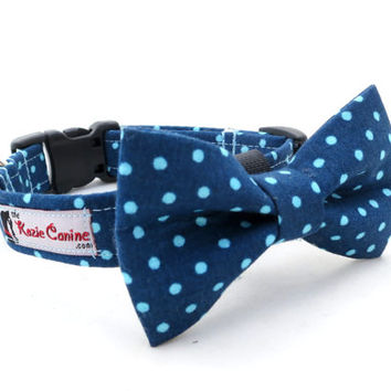 Navy Blue and Turquoise Polka Dot Dog Collar  (Dog Collar Only - Matching Bow Tie Available Separately for Wedding & Special Occasion)