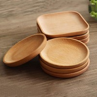 Round / Square Wood Cake Dishes Home/ Hotel/School Dessert Serving Tray Wood Sushi Plate Dinnerware Tableware
