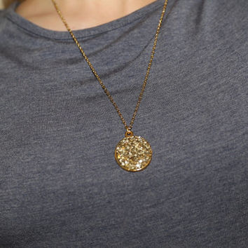 Gold pendant druzy necklace, Glass Glitter Gold Pendant necklace, Cute girly Gold Necklace