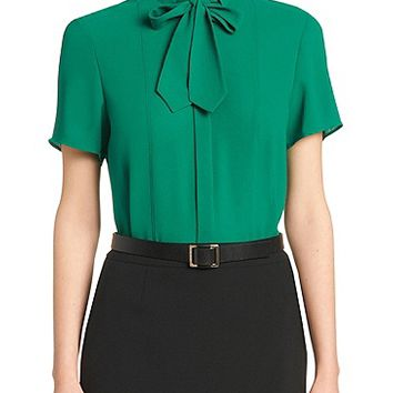 'Bylana' | Short Sleeve Removable-Tie Blouse
