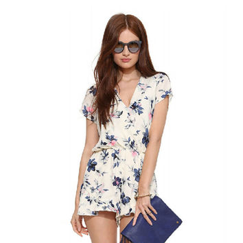 Summer Stylish Floral Print Women's Fashion Hot Sale Ladies V-neck Romper [6033565633]