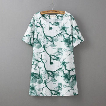 Vintage Green Tie Dye Cotton T Shirt Women