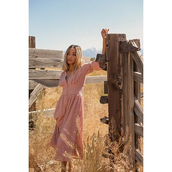 Waitin for the Train   Dusty Pink Tiered Puff Sleeve Dress