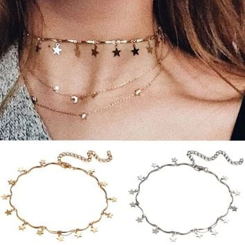 Modern Dainty Small Charm Mother Star Jewelry Minimalist Necklace Choker Chain