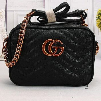 GUCCI vintage rhombic chain shoulder bag small wild Messenger bag black