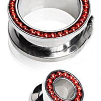 PAIR-Chain Red On Steel Screw On Tunnels 10mm/00 Gauge Body Jewelry