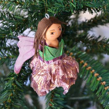 Fairies - Christmas Tree Ornament - Original Kokeshi Dolls - Mixed Media - Christmas Decoration