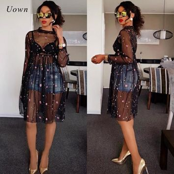Black Sheer Mesh Dress Women Autumn 2017 Floral Embroidery Long Sleeve Knee Length A Line Dress Sexy See Through Dress Clubwear