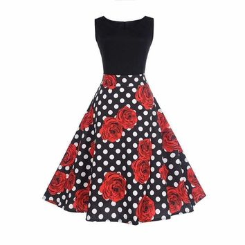 SHIPS FROM USA Women Summer Plus Size 3XL Dress Audrey hepburn Retro Rose Dots Printed Casual