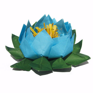 Light Blue Lotus Paper Flower,  Water Lily,  Origami Lotus for Blue Wedding Table Setting, Home and Party Decor, Zen Gift, Yoga Decoration