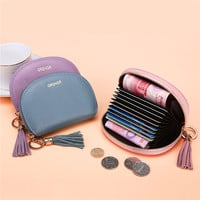 Hot-sale Women Genuine Leather Shell 9 Card Slots Card Holder Small Coin Bags Zipper Purse - NewChic Mobile