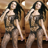 Sexy Exotic Lady /Women Crotchless Fish Net Body Stocking Lingerie Teddy Sheer