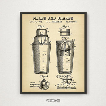 Cocktail Shaker Patent, Digital Download, Cocktail Poster, Cocktail Print, Restaurant Kitchen Bar Pub Decor, Alcohol Shaker & Mixer Patent