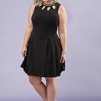 Plus Size Rhinestone-Neck Fit & Flare Dress