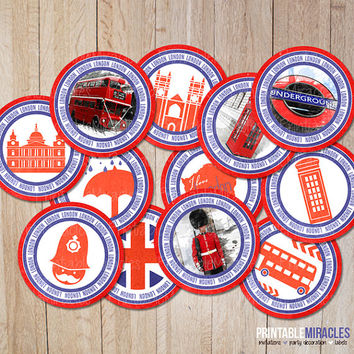London Party Decorations / British Cupcake toppers Circles /England UK stickers / Travel Favor Tags PRINTABLE labels / Instant download