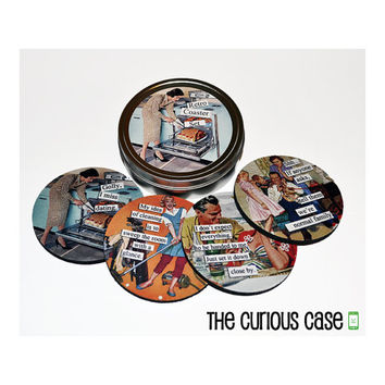 Sassy Retro Round Coaster Set of 4 with Storage Gift Tin