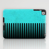 Stormy Teal with Vertical Stripes iPad Case by Lyle Hatch