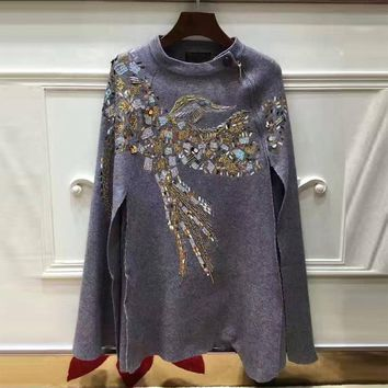 Newest Fashion Women Cashmere Cloak Coat Bird Pattern Beading And Sequins Shwal Loose Woolen Female Cape Bat Sleeves Wrap