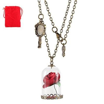 Beauty and The Beast Until The Last Pedal Falls Glass Vial Necklace Pendant