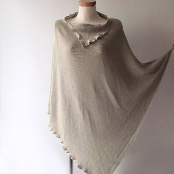 Linen poncho cape natural shawl  jersey grey natural flax oversized  plus sizes