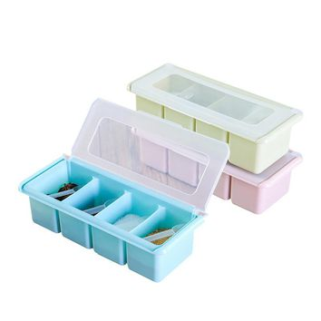 Kitchen Seasoning Storage Spice Jar Simple Lid Seasoning Box  Kitchen Tools Salt Sugar Container Household  Storage Box