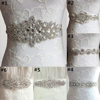 1 Pc Luxury Clear Rhinestone Bridal Sash Wedding Belt Bridal Dress Belt