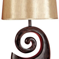 "Set/2 Ebony Black N Gold Table Lamp 27"""" With Shade"