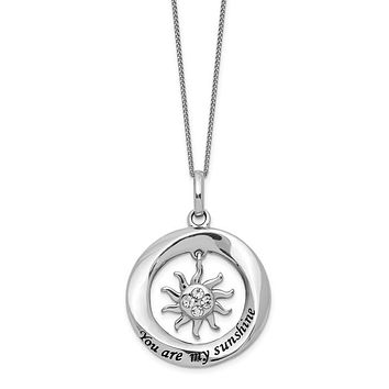 Sterling Silver Enamel And Crystal Sun You are My Sunshine Necklace