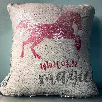 UNICORN Mermaid Pillow w/ Silver & White Sequins (2019 edition)