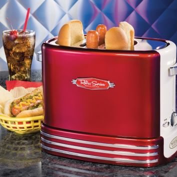 RHDT700RETRORED | Retro Series™ Hot Dog Pop-Up Toaster | Nostalgia Electrics