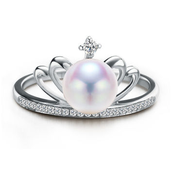 Fashion Pearl Ring Jewelry Natural Freshwater Pearl Crown Pearl Ring Wedding Rings