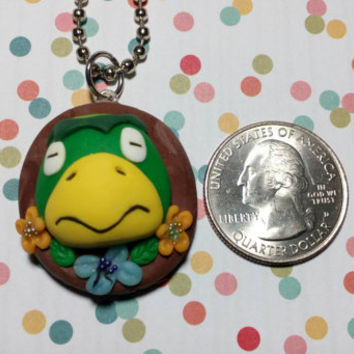 Kawaii Kappa Kapp'n Nintendo Animal Crossing New Leaf /Happy Home Designer Pendant Cute Charm Cameo Necklace /Keychain OOAK ACNL ACHHD