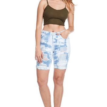 Tie Dye Denim Bermuda Short