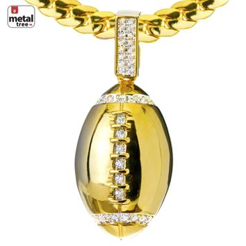 Jewelry Kay style Men's 14kt Gold Plated Football Pendant Miami Cuban Chain Necklace BCH 1085 G